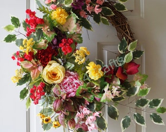 Large Wreath Fall Floral Decor, Summer Wreath, Fall Wreath, Roses Peonies Mums Door Wreath Ready to Ship