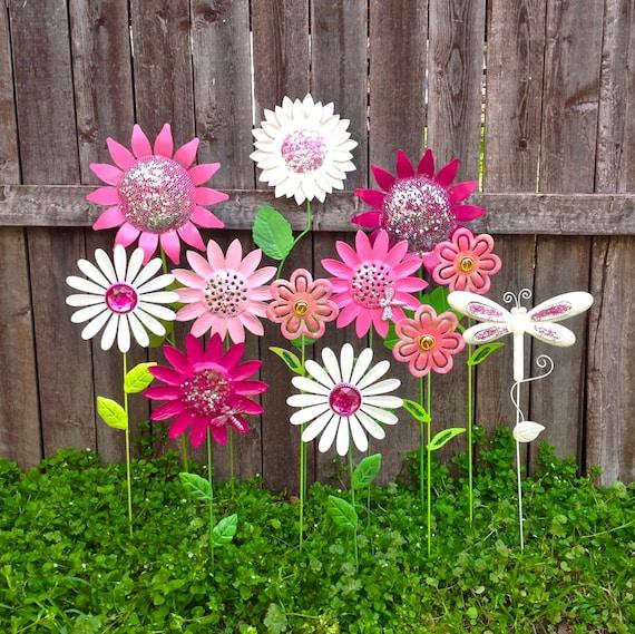 Fun Flower Garden : Garden fun metal flower stakes w dragonflies pink