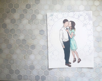 custom watercolor couple portrait -  small family's (1-3 people & pets) / pets