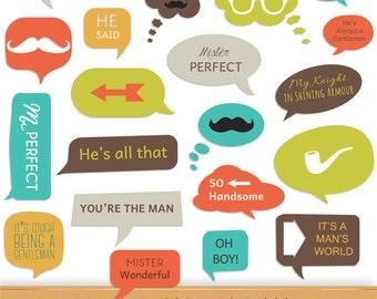 Hipster Digital Speech Bubbles Digital Bubble Clipart Father Boy Gentleman Man Clip Art Speech Callouts Word Art Stickers Labels Frames Tags