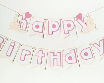 Kangaroo Happy Birthday banner, pink and cream birthday banner