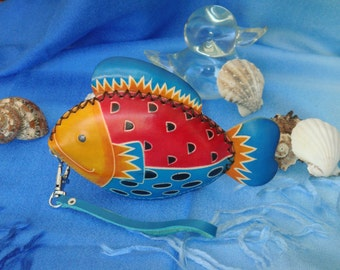 Leather Change/coin Purse, Jewelry Holder. Beautiful Color Ocean Fish Pattern, Zipper.