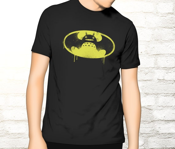 My Neighbour Totoro / Batman T-shirt - My Neighbor Totoro Batman Tee - Mashup