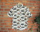 Vintage Men Retro Cars Shirt, Men's Vintage Cars Short Sleeve White Shirt, Cedar Wood State Shirt, Boys' Retro Beach Summer Car Print Shirt