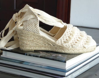 Lace-up espadrille wedges - TASSEL COLLECTION - mumishoes - made in spain