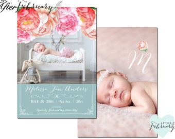 Birth Announcement // Baby Girl Birth Announcement Printable File // Printable OR Printed No.979