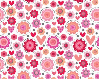 Lovebug Friends Valentine Riley Blake fabric Lovebugs collection by Doodlebug Designs pink red flower heart valentine fabric
