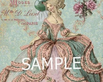 Fabric Art Quilt Block - Marie Antoinette - 8064 FREE Shipping