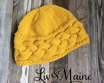 Cable Knit Brim Hat - Mustard - Adult - Ready to Ship
