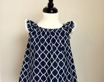 The Annabelle Top - Navy Quatrefoil - Girls Flutter Sleeve Tunic - Size 4t - Ready to Ship