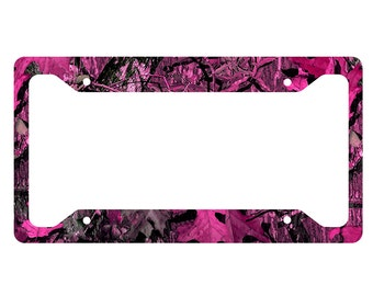 pink camouflage license plate frame