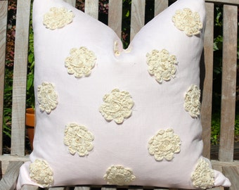 Blush Linen Pillow Cover with Off White Cotton Flower Appliqué. Pink Linen Pillow Cover with Off White Appliqué. Romantic Linen Pillow .
