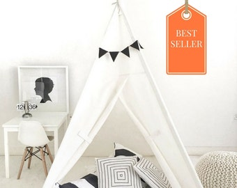 Handmade Teepee Play tent for Kids in Natural Unbleached Cotton Canvas. Comes with Padded Mat Base and Two Pillows