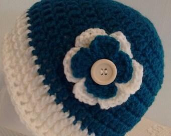 Teal Crochet Hat-Women's/Teen-Hat-Beanie Hat-Decorative Flower