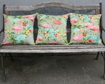 """Flamingo Indoor/Outdoor Pillow Covers.  17"""" X 17"""" Set of 3."""