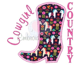 Cowgirl Country Applique Machine Embroidery Design 082614 Cowboy Boot Sayings 4X4 5X7 8X8 6X10 Instant download
