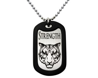 Laser Engraved Tiger Design Stainless Steel Dog Tag Necklace - Made in USA -SSN399