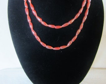 Carnelian 2 Tier Necklace-red-orange color. Appreciated for exclusive luster, color & elegant design.Luxurious accessory piece.Great Gift!