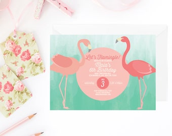 flamingo invitation, flamingo party invitation, pink flamingo, pool party, flamingo invite, party, pink flamingo birthday printable invite