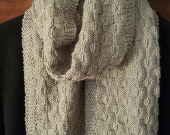 Unisex Gray Basket Weave Knit Scarf
