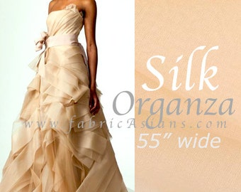 Champagne Silk Tulle Fabric by the yard. Wholesale organza