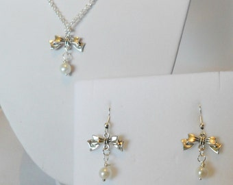 antique silver vintage pearl bow earrings pearl