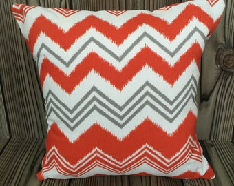 Orange Throw Pillow, Toss Pillow, Decorative Pillow, Pillow Cover,Cushion Cover, Zazzle Pattern ~ 16in x 16in ~ Envelope Closure