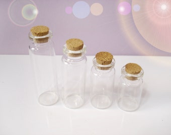 4 Glass Vials with Corks - 4 Sizes included - Clear Glass Bottle Collection - REF#4GC