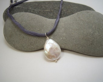 Teardrop Freshwater pearl Pendant Strung on Hand-Dyed Silver Silk Cord