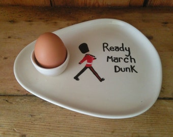 Hand Painted Ceramic Egg and Toast Plate Can be personalised Guardsman Design