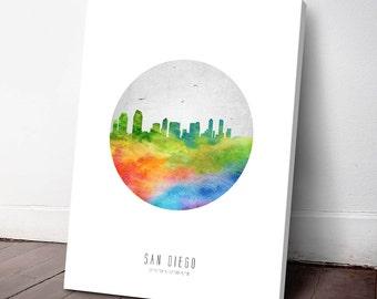San Diego Skyline Canvas Print, San Diego Cityscape, San Diego Art Print, San Diego Decor, Home Decor, Gift Idea, USCASD20C