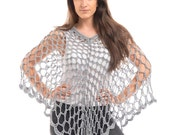 Dainty Cotton Crochet Poncho in Blue Grey/Blue grey Crochet Poncho/Crochet Poncho