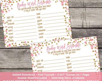 Pink and Gold Word Scramble Game Baby Shower Game - Glitter - Girl Baby Shower Games - Baby-244