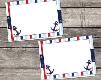 Nautical Baby Shower Labels or Cards - Place Cards - Ahoy Its a Boy - - Blank Folded Cards - 217