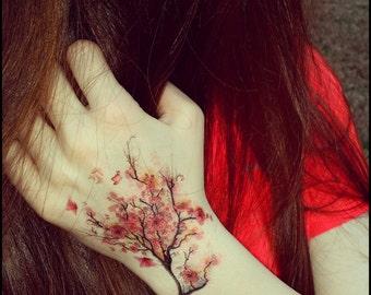 Cherry blossoms temporary tattoo fake tattoos