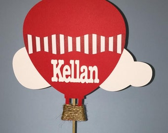 Red Hot air Balloon Cake Topper