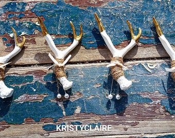 Antler Boutonniere with Gold Accents (1)