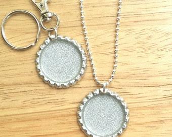 Silver Glitter Bottle Cap Pendant Keyring or Zip Pull