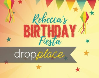 CUSTOM Personalized Birthday Fiesta Backdrop Banner  Sunny Party Background Cake table, photo booth prop,(any text available) Vinyl