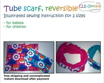 Tube scarf, reversible, for babies or children