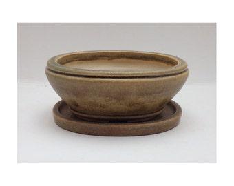 Bonsai Pot / Planter. Handmade planter in a mottled brown glaze. Stoneware & frost resistant