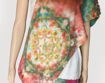 Infinity Scarf-Cotton Jersey Scarf-Tie Dye Scarf-Teal, Orange, Gold, Terracotta, Fall Colors - Mandala