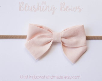 Blush Pink Fabric Bow, Hand Tied Fabric Bows, Baby Girl, Toddler, Girls Fabric Bow Headband or Hair Clip