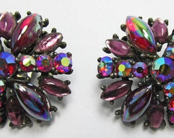 Spectacular Vintage 1950s Signed Art Ruby Red and Purple Rhinestone Earrings