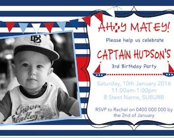 DIGITAL FILE- Nautical birthday invitation
