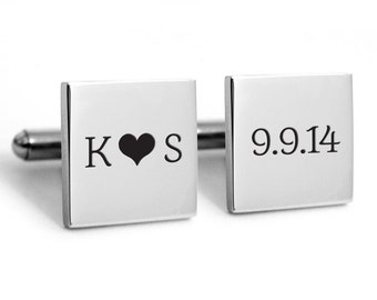 Groom Cuff links, Stainless steel with engraved personalized initials for wedding, custom, customized, dated, heirloom