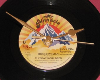 "Tuesday's Children boogie woman   7"" vinyl record clock"