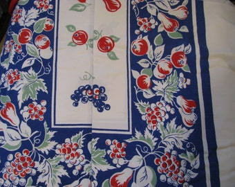 Vintage Tablecloth in Red, White and Blue with Fruit theme
