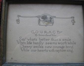 Courage Poem in Original Frame, Vintage