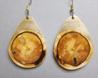 X Large Stunning Glowing Pine Exotic Wood Earrings, Handcrafted by ExoticWoodJewelryAnd Hypoallergenic wires
